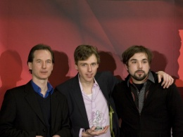 Joel Plaskett (centre) at the ECMAs